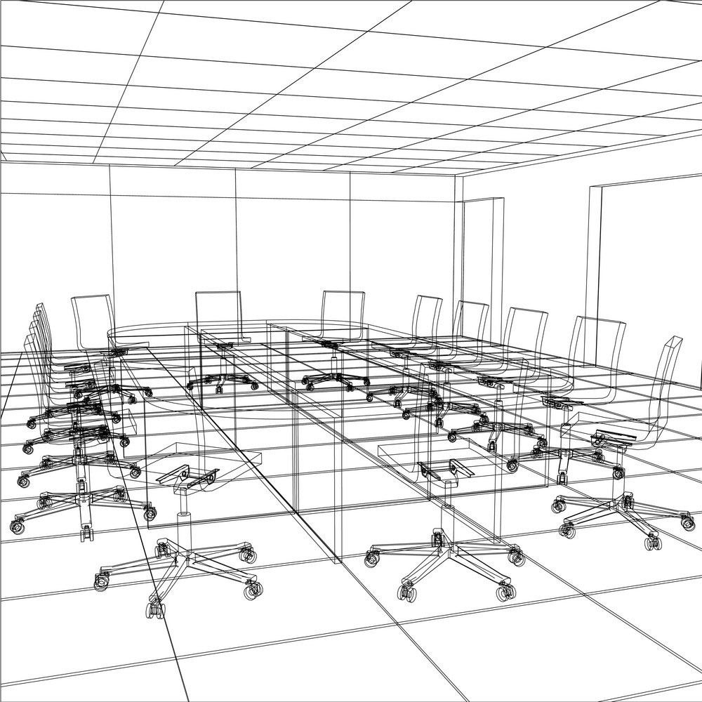 Sketch of a boardroom showing effective set up for facilitation at Resolve Advisors